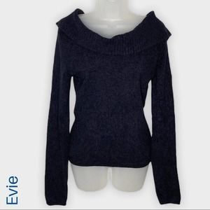 Evie black chenille off the shoulder sweater